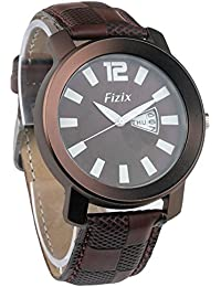 Fizix Day & Date Series Brown Dial Leather Strap Analogue Wrist Watch For Girls & Boys (fzx-01281)