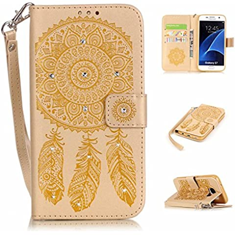 S7 Custodia in pelle, Galaxy S7 Cover Portafoglio, M. JVisun strass Dream Catcher in pelle + morbida in silicone con tracolla di tasca custodia Flip Case per Samsung Galaxy S7 G930 G930 F, Pelle, oro, For Samsung Galaxy S7 G930 G930F