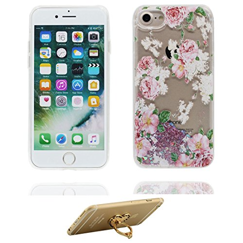 """iPhone 7 Plus Coque, Skin Hard Clear étui iPhone 7 Plus, Design Glitter Bling Sparkles Shinny Flowing (Marguerites) Apple iPhone 7 Plus Case Cover 5.5"""", résistant aux chocs et ring Support # 1"""