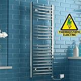 iBathUK 1200 x 450 Thermostatic Electric Heated Towel Rail Bathroom Radiator - All Sizes