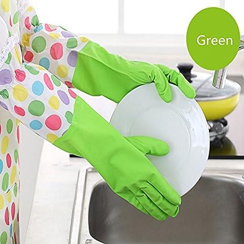 Haosen Manchon Fleur Gants vaisselles Caoutchouc synthétique avec flocage Hiver Anti Skid Gants ménagers Gants imperméables - Vert