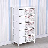 UEnjoy White Chest of Drawers Wicker Storage Unit with 5 Woven & 5 Wooden Baskets
