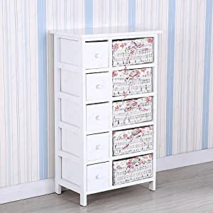 Uenjoy White Chest Of Drawers Wicker Storage Unit With 5 Woven 5 Wooden Baskets