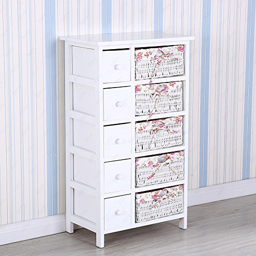 uenjoy-white-chest-of-drawers-wicker-storage-drawer-with-5-woven-baskets
