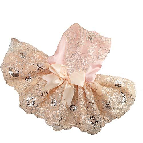 Rock Glitzernden Kostüm - Delifur Hunde-Hochzeitskleid Tutu Rock Welpen Katze Blumenprinzessin Haustier Geburtstag Party Kostüm für Frühling Sommer, S, Rose
