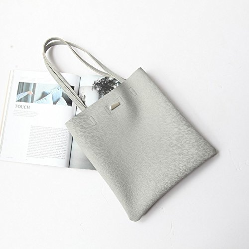 Mefly Moda All-Match Divertimento Shopping Bag Lady Pu Unico Zaino Spalla Grigio Chiaro Light grey