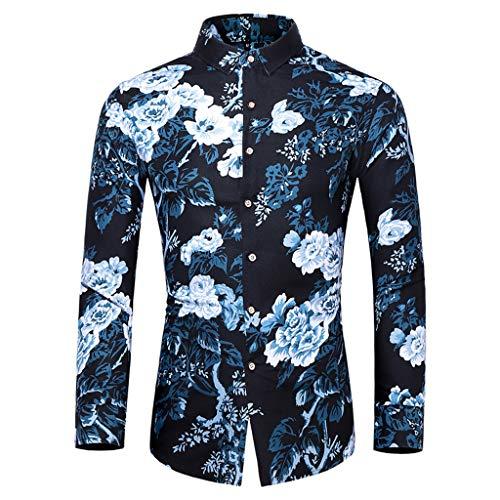 MOTOCO Herren Langarmhemd Blumen Revers Button Down Freizeithemd Fancy Printed Pattern Top Bluse(M,Blau-3)
