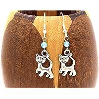 Boucles d'oreilles chat agate bleu, bijoux perle bleu et felin, cadeau anniversaire, fêtes de mères,