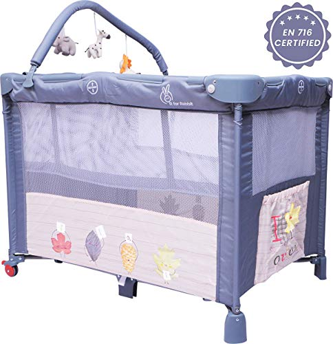 R for Rabbit Hide and Seek Baby Bed- Smart Folding Baby Cot/Crib (Grey)