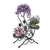 """Présentoir de fleurs végétales multicouches Support à plantes à défilement à 3 niveaux avec support extérieur pour présentoir de fleurs avec un design moderne en """"S"""" Étagère balcon jardin fleur"""
