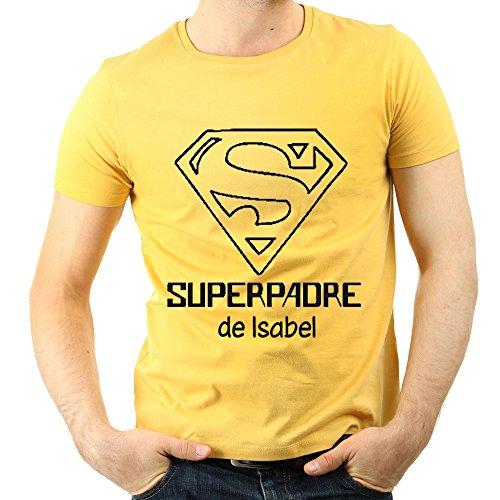 Calledelregalo Camiseta Personalizada 'Superpadre' Amarilla EN Todas Las Tallas - Regalo Para el Día del Padre