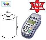 200 Bobine rouleaux 57 mm x 40 mm 57 x 40 de Papier Thermique pour Caisse carte bancaire , tpe, terminal de paiement Ticket Rouleaux