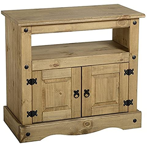 Stylish And Compact Corona Solid Pine TV Cabinet - Perfect For Displaying And Storing Your Media - Bringing In A Warm, Homely Look To Your