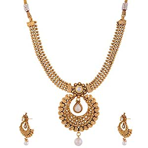 Ganapathy Gems 1 Gram Gold Plated Traditional South Indian Chand Bali and Necklace set for Women