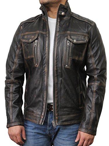 #Vintage schwarze Herren Bikerjacke aus Leder (5X-Large)#