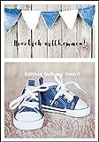 Glückwunschkarte zur Geburt Junge * Blaue Turnschuhe * Herzlich Willkommen