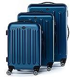 FERGÉ Juego de 3 maletas de viaje LYON Trolley funda rígida 4 ruedas azul