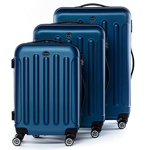 FERGÉ® Set 3 valises Voyage Rigide léger Lyon Ensemble de Bagages Trois pc Trolley 4 Roues roulettes Doubles 360 degrés Bagage Cabine Bleu
