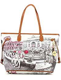 8b3ae75688 Borsa donna Shopping grande Y Not stampa Roma Pink Girls - Serie Yes Bags -  F319