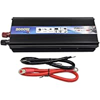 Inversor de corriente para coche–XUYUAN 2000W Coche USB DC 12V / 24V a AC 220V inversor de corriente adaptador convertidor negro, color 24V-220V