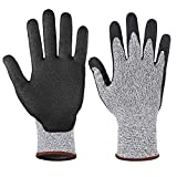 Emily Multifunctional Durable Use Working Safety Gloves Cut-Resistant Level 5 Gloves gray & black M