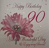 WHITE COTTON CARDS Glückwunschkarte zum 90. Geburtstag Happy Birthday, Motiv pinkfarbene Blume, extragroß, 1Stück