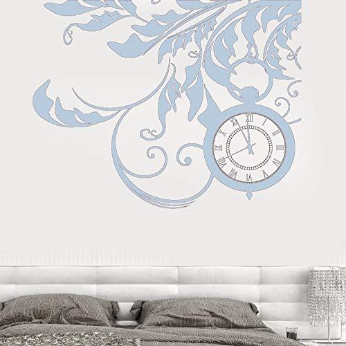 guijiumai Vinilo Tatuajes de Pared Floral Flor Relojes Sueños Fantasía Sala de Estar Hogar M Arte Decoración Pegatinas F 7 57X71 CM