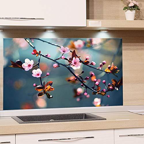 GRAZDesign Spritzschutz Glas für Küche Herd   Bild-Motiv Kirschblüte im Sommer   Küchenrückwand Küchenspiegel Glasrückwand / 60x40cm