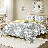 SCM Bettwäsche 200x200cm Grau Gelb Blumen Mikrofaser 3-teilig Bettbezug & Kissenbezug 50x75cm Ideal für Schlafzimmer Tanya