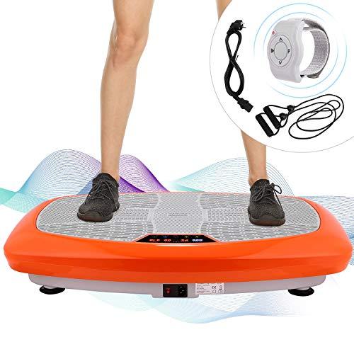 ANCHEER Fitness Plateforme Vibrante et Oscillante JF-B01C, 5 Programmes Automatiques et 3 Zones de Vibration avec Télécommande et 2 Bandes Elastiques d'Entraînements (Orange)
