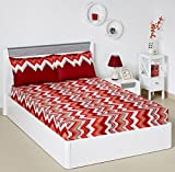 #3: Solimo Abstract Waves 144 TC 100% Cotton Double Bedsheet with 2 Pillow Covers, Red