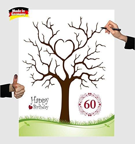 Fingerabdruckbaum Zum 60 Geburtstag Leinwand Blumenkranz