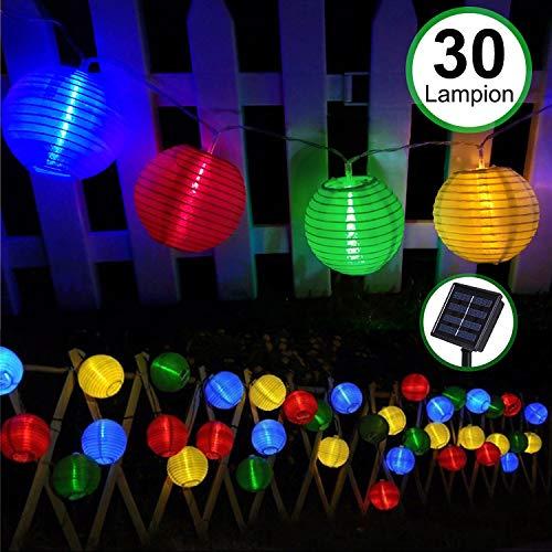 Solar Outdoor Lichterkette 30er 5.5m Led Lampion Laterne Bunt Lichterkette Außen Solarbetrieben Wasserdicht Dekoration für Garten Terrasse Hof usw.