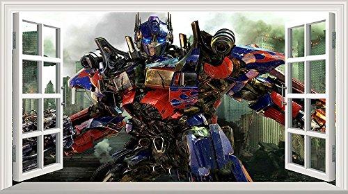 Wandtattoo Transformers Optimus Prime Motiv Magisches Fenster, selbstklebendes Poster, Maße 1000mm breit x 600mm hoch, Größe L, V2