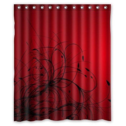 Crystal Emotion Stoff Badezimmer Decor Set mit Haken, Vintage-Muster Grau 36x72inch Rot/Schwarz (Schwarz Stoff Dusche Vorhang Liner)