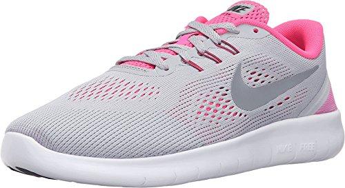 Big School Kids Sneakers (Nike Kids Free RN (GS) Wolf Grey/Metallic Silver Running Shoe 7 Kids US)
