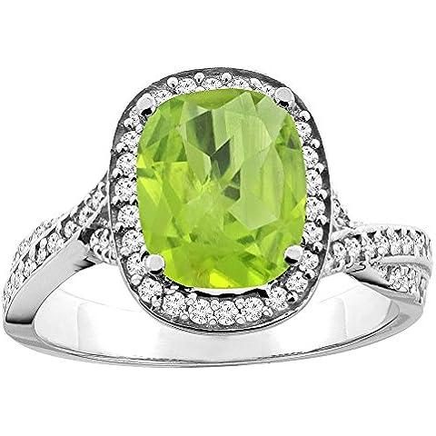 Revoni 14ct blanco/oro amarillo lazulí Natural 9 x 7 mm anillo de Halo de diamantes y cojín de