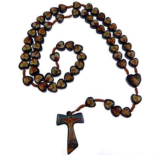 schwarz Holz Heilige Rosenkranz Tau Kruzifix Holz Herz Perlen Jesus Mary