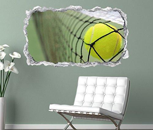 3D Wandtattoo Ball Tennis Tennisball Netz Sport Wand Aufkleber Durchbruch Stein selbstklebend Wandbild Wandsticker 11N047, Wandbild Größe F:ca. 140cmx82cm