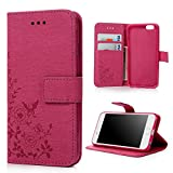 iPhone 6 Case , iPhone 6s Case Cover 4.7 Inch - Lanveni Butterfly Flowers Embossed Retro Premium PU Leather Magnetic Flip Wallet Cover with Detachable Hand Strap & Card Slots & Stand Function for iPhone 6S & iPhone 6 4.7