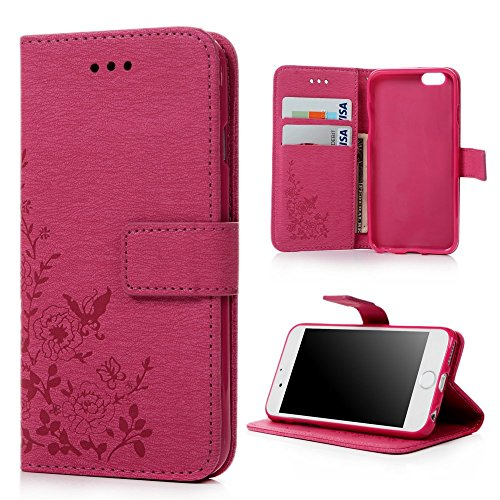 Price comparison product image iPhone 6 Case ,  iPhone 6s Case Cover 4.7 Inch - Lanveni Butterfly Flowers Embossed Retro Premium PU Leather Magnetic Flip Wallet Cover with Detachable Hand Strap & Card Slots & Stand Function for iPhone 6S & iPhone 6 4.7'' ,  Deep Pink