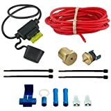 American Volt 210'f Electric Fan Thermostat Inline Fuse Wire Kit High Temp Sensor Hot-rod Car