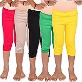 #10: Aloft Girls Muliticolor Plain Cotton Knee Length Leggings (Pack of -5pcs)