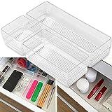 Hausfelder ORDNUNGSLIEBE Schubladen Organizer (3-Teiliges Set) Ordnungssystem zur Aufbewahrung für Küche Büro Schminktisch Kosmetik, variabel und Transparent aus Kunststoff