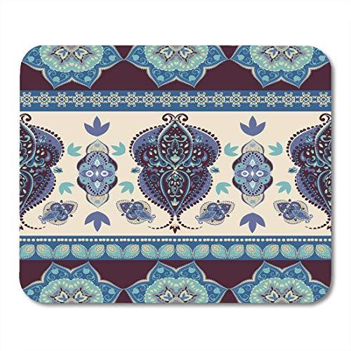 Luancrop Mauspads Border Indian Abstract Medallion Pattern Boho und Gypsy Style Ethnische Paisley-Bettdecken und Bettwäsche Floral Mouse Pad für Notebooks, Desktop-Computer Bürobedarf -