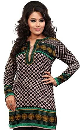 indien tunika top kurti womens bedruckt bluse indische kleidung bekleidung. Black Bedroom Furniture Sets. Home Design Ideas