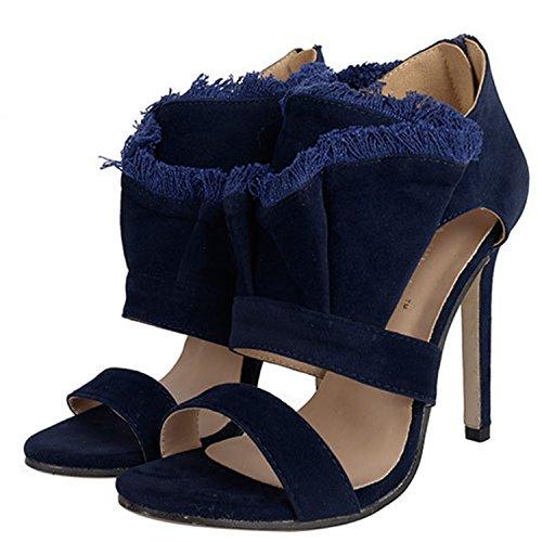 Oasap Women's Peep Toe Stiletto Heels Tassel Suede Sandals blue