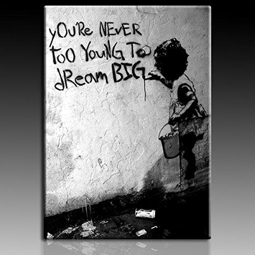 "Stampa su tela da parete ""Bansky"" graffiti - 40 x 30 cm, motivo"