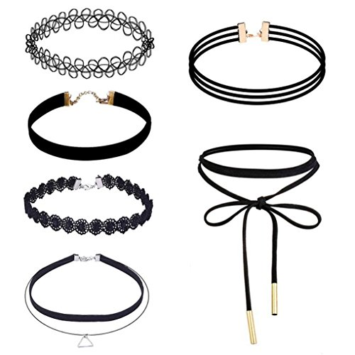 LANSKIRT Damen Stretch Samt Klassische Gotische Tattoo Spitze Choker für Mädchen - 6 Stück Choker Halskette Set (Black)