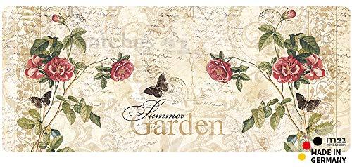 matches21 Küchenläufer Teppichläufer Teppich Läufer Summer Garden Rose 50x120x0,4 cm Rutschfest machinenwaschbar Küchenvorleger